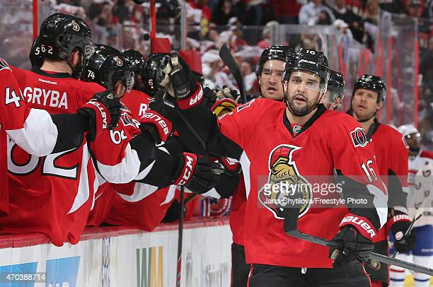 Clarke MacArthur of the Ottawa Senators celebrates his first period goal against the Montreal Canadiens in Game Three of the Eastern Conference...