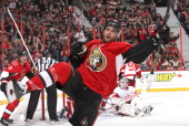 Clarke MacArthur of the Ottawa Senators celebrates his second period goal against the Detroit Red Wings during an NHL game at Canadian Tire Centre on...