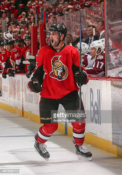 Clarke MacArthur of the Ottawa Senators celebrates his third period goal against the Colorado Avalanche at Canadian Tire Centre on October 16 2014 in...