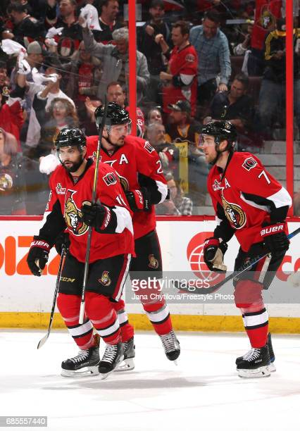 Clarke MacArthur of the Ottawa Senators celebrates with his teammates after scoring a goal against Matt Murray of the Pittsburgh Penguins during the...
