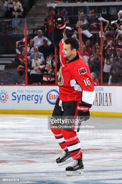 Clarke MacArthur of the Ottawa Senators gestures after being named second star following their overtime win against the Boston Bruins in Game Two of...
