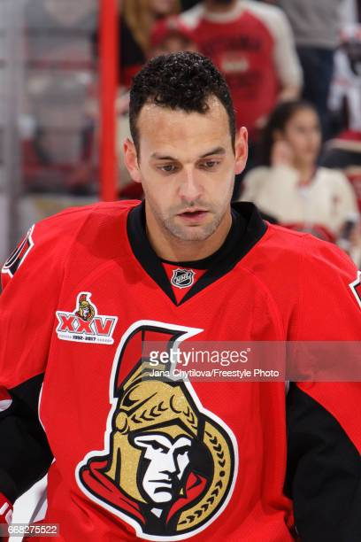 Clarke MacArthur of the Ottawa Senators looks on during warmups prior to a game against the Boston Bruins in Game One of the Eastern Conference First...