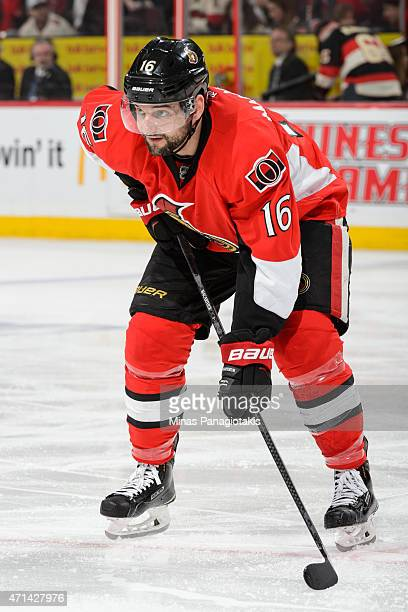 Clarke MacArthur of the Ottawa Senators looks on prior to a faceoff in Game Six of the Eastern Conference Quarterfinals against the Montreal...
