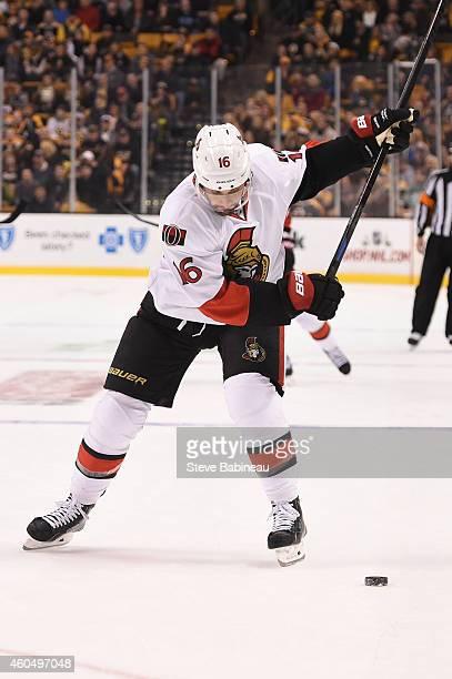 Clarke MacArthur of the Ottawa Senators shoots the puck against the Boston Bruins at the TD Garden on December 13 2014 in Boston Massachusetts