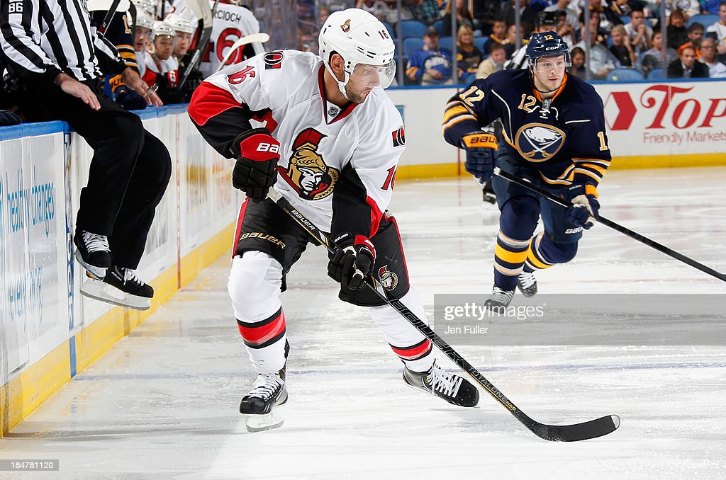 Clarke MacArthur #16 of the Ottawa Senators skates against the Buffalo Sabres at First Niagara Center on October 4, 2013 in Buffalo, New York. Photo by Jen Fuller/Getty Images)