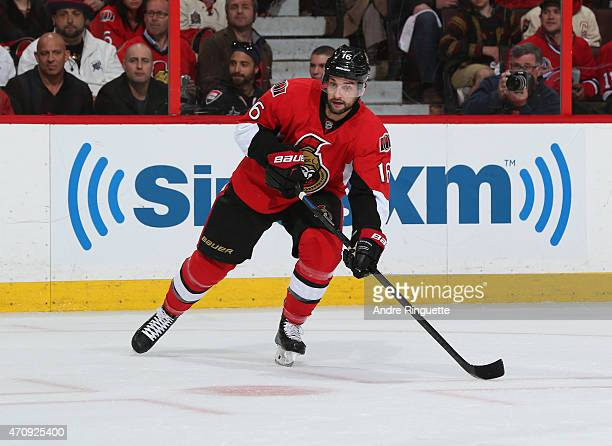 Clarke MacArthur of the Ottawa Senators skates against the Montreal Canadiens in Game Four of the Eastern Conference Quarterfinals during the 2015...