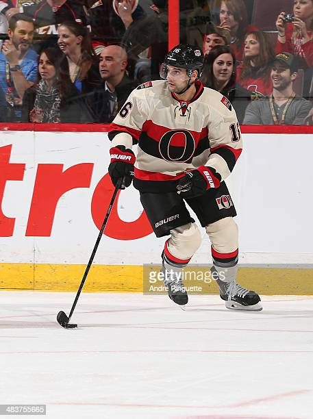 Clarke MacArthur of the Ottawa Senators skates against the Montreal Canadiens at Canadian Tire Centre on April 4 2014 in Ottawa Ontario Canada
