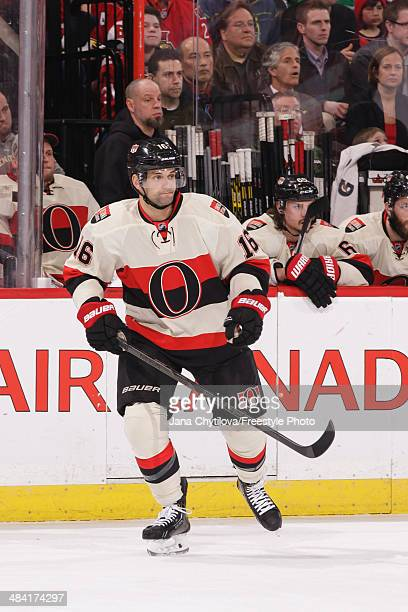 Clarke MacArthur of the Ottawa Senators skates against the Montreal Canadiens during an NHL game at Canadian Tire Centre on April 4 2014 in Ottawa...
