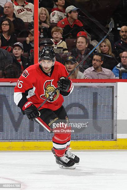 Clarke MacArthur of the Ottawa Senators skates against the Pittsburgh Penguins at Canadian Tire Centre on April 7 2015 in Ottawa Ontario Canada
