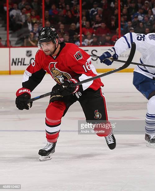Clarke MacArthur of the Ottawa Senators skates against the Toronto Maple Leafs at Canadian Tire Centre on November 9 2014 in Ottawa Ontario Canada