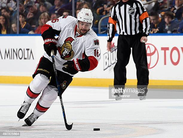 Clarke MacArthur of the Ottawa Senators skates with the puck during the game against the Buffalo Sabres at the First Niagara Center on October 8 2015...