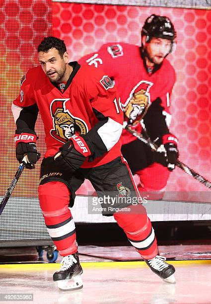 Clarke MacArthur of the Ottawa Senators steps onto the ice during player introductions prior to the home opener against the Montreal Canadiens at...