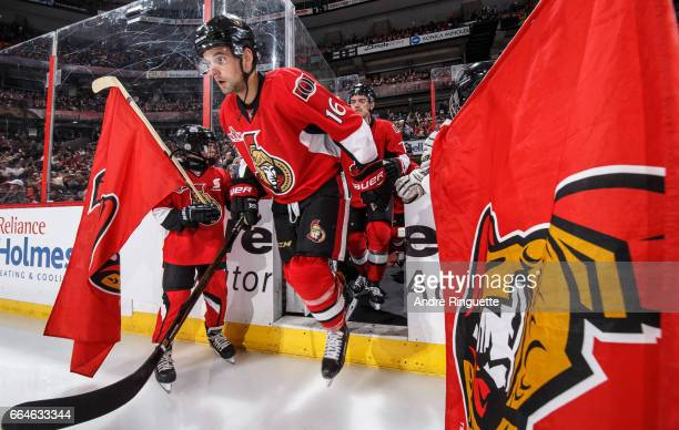 Clarke MacArthur of the Ottawa Senators steps onto the ice during player introductions as he makes his return to the lineup after a lengthy absence...