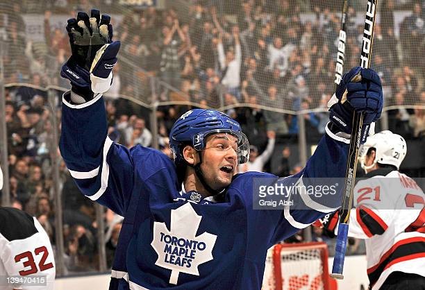 Clarke MacArthur of the Toronto Maple Leafs celebrates a second period goal during NHL game action against the New Jersey Devils February 21 2012 at...