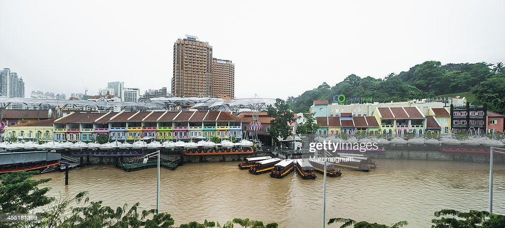 Clarke Quay and Singapore river during a rainy day