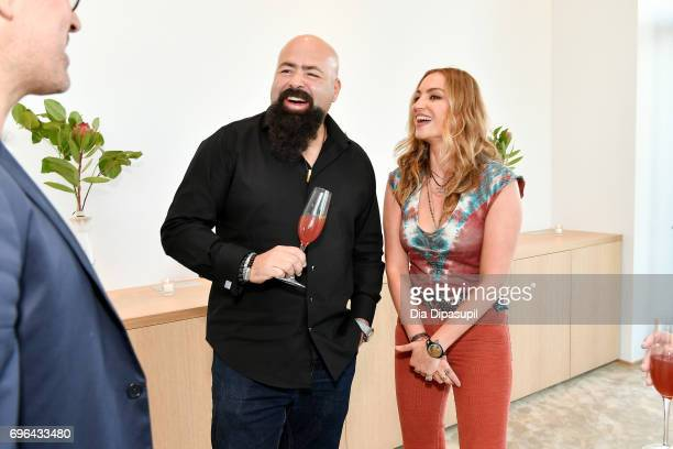 Clase Azul founder/owner Arturo Lomeli and Drea de Matteo attend the 20th Anniversary Celebration of Clase Azul Tequila at Public hotel on June 15...