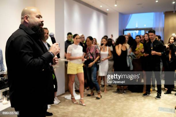 Clase Azul founder/owner Arturo Lomeli speaks during the 20th Anniversary Celebration of Clase Azul Tequila at Public hotel on June 15 2017 in New...