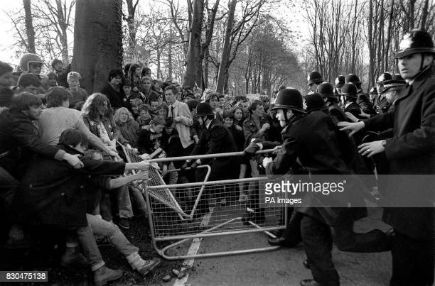 A clash between animal rights demonstrators and police at the British Industrial Biological Research Association laboratory at Carshalton Surrey8...
