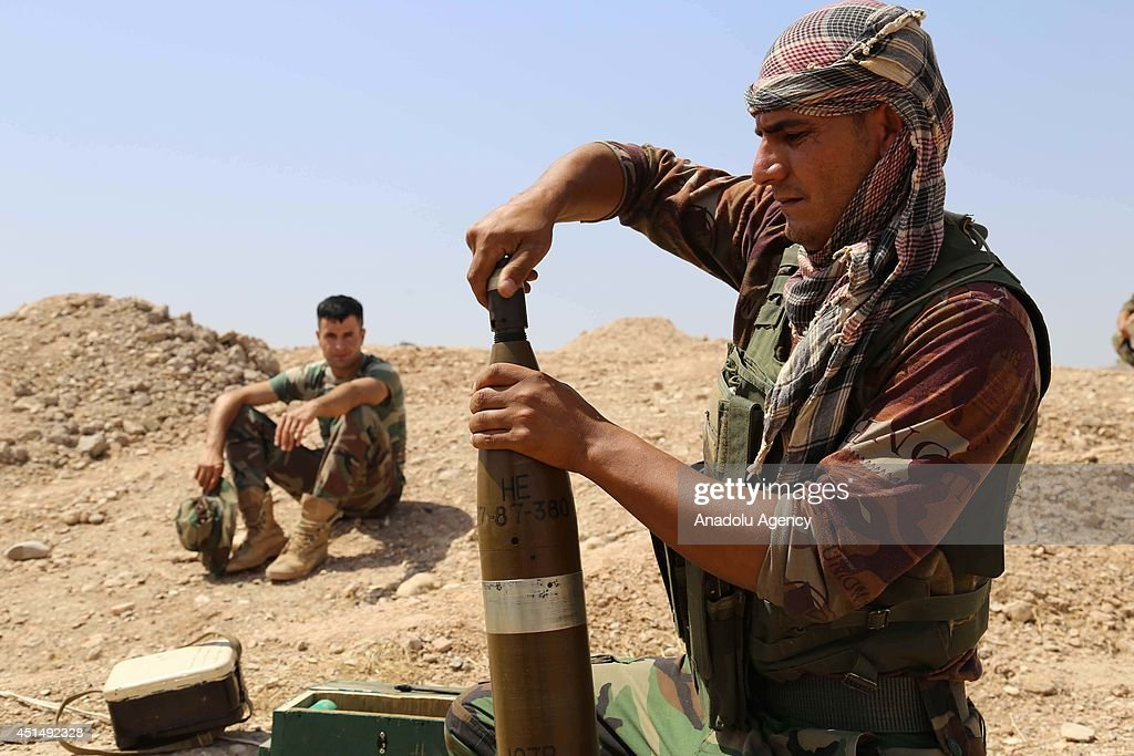 Clashes between army groups led by Islamic State of Iraq and the Levant (ISIL) and peshmargas continue in Diyala province, Sulaymaniyah, Iraq on 29 June, 2014. Peshmargas attack with howitzers and heavy weapons to take out militants of ISIL from Diyala.