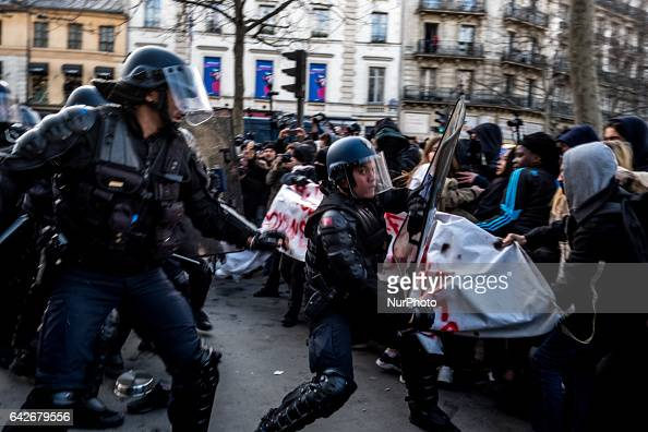 Clashes between cops and protestors during quotA Justice for Theoquot rally against police brutality and racism at republic square in Paris France on...