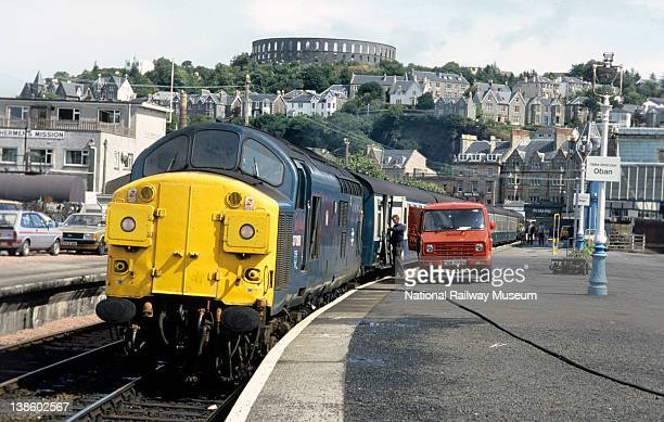Class 37088 at Oban Service to Glasgow collects mail before departure 7th August 1985