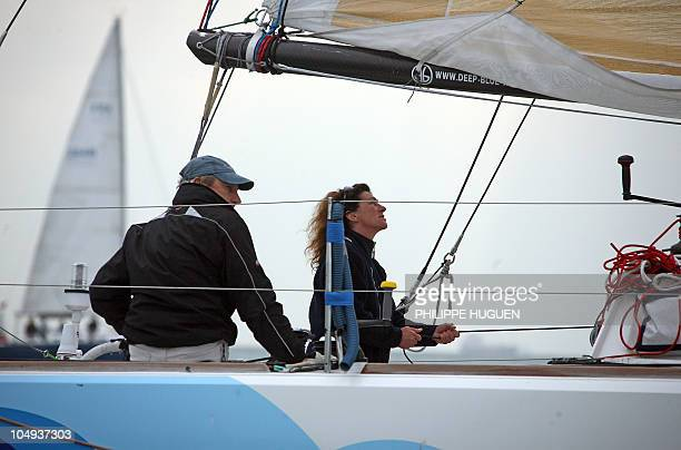 Class 40 monohull 'Deep Blue' skippered by Florence Arthaud and Luc Poupon takes the start of the Jacques Vabre transatlantic pair race bound for...