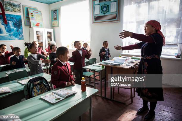 Class at an elementary school in the village of Beshkent Kyrgyzstan The school lacks running water and therefore drinking water is gathered from a...