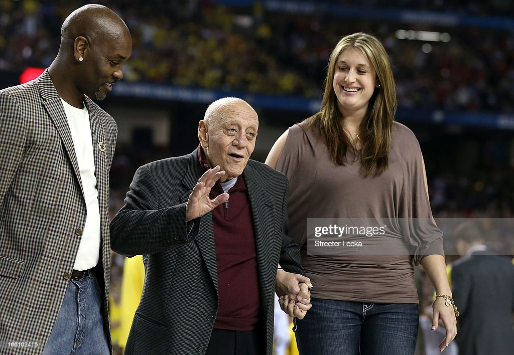 Class of 2013 Basketball Hall of Fame inductees (L-R) Gary Payton and Jerry Tarkanian stand on the court as the Naismith Memorial Basketball Hall of Fame 2013 Class Announcement is made during the 2013 NCAA Men's Final Four Championship between the Michigan Wolverines and the Louisville Cardinals at the Georgia Dome on April 8, 2013 in Atlanta, Georgia.