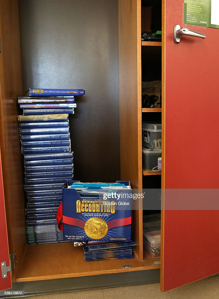 Class textbooks that are not used are now stored in the teacher's closet in a classroom at GrotonDunstable High School on May 11 2016 Business and...