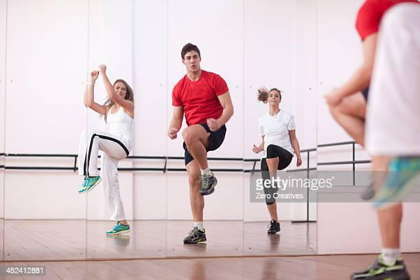 Class training in aerobics
