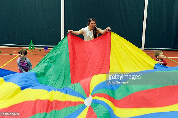 A class with Colorado Ball Sports wraps up with a parachute game at Wulf Recreation Center on February 11 in Evergreen Colorado Colorado Ball Sports...