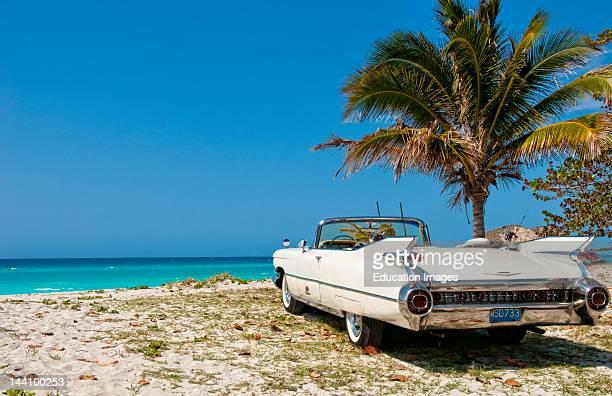 Classic 1959 White Cadillac In Veradara Cuba
