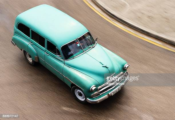 Classic 50s Chevy Wagon Cruising the Streets of Cuba