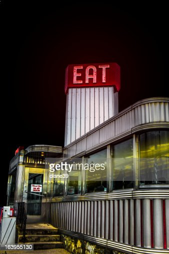 Classic american diner at night stock photo getty images for American classic diner