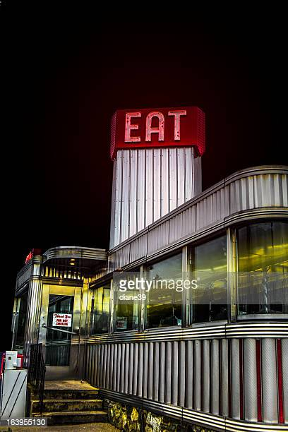 Classic American diner at night
