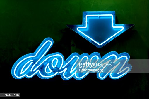 Classic Americana Neon Blue Down Sign and Arrow