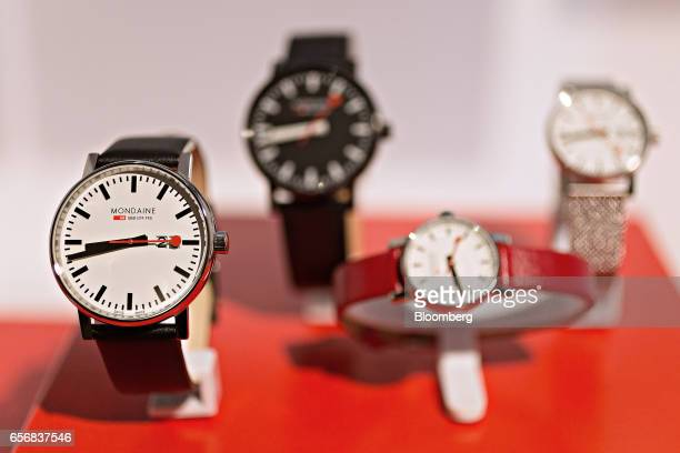 A Classic Automatic official Swiss Railways model wristwatch produced by Mondaine Watch Ltd stands on display at the company's booth during the 2017...
