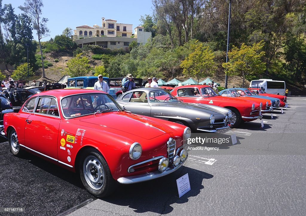 Classic automobiles are on display during Concours d'Elegance at Greystone Mansion in Beverly Hills, Los Angeles, USA, on May 2, 2016. 140 classic automobiles from 18 different categories are displayed during the Concours d'Elegance classic automobile show.