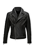 Classic black leather bikers' jacket with lining shot from the front and the back isolated on white. Motorcycle style