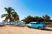 Old classic car on the beach of Cuba