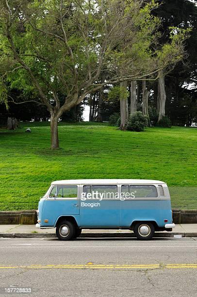 Classic Blue Retro Volkswagen Bus in California