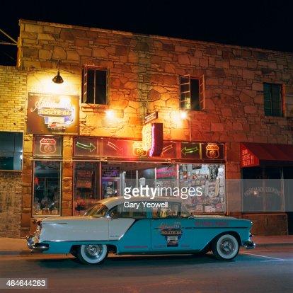 Classic Car Outside Route Memorabilia Shop Stock Photo Getty