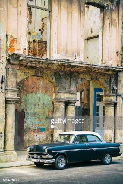 Classic Car Parked on Street, Havana, Cuba