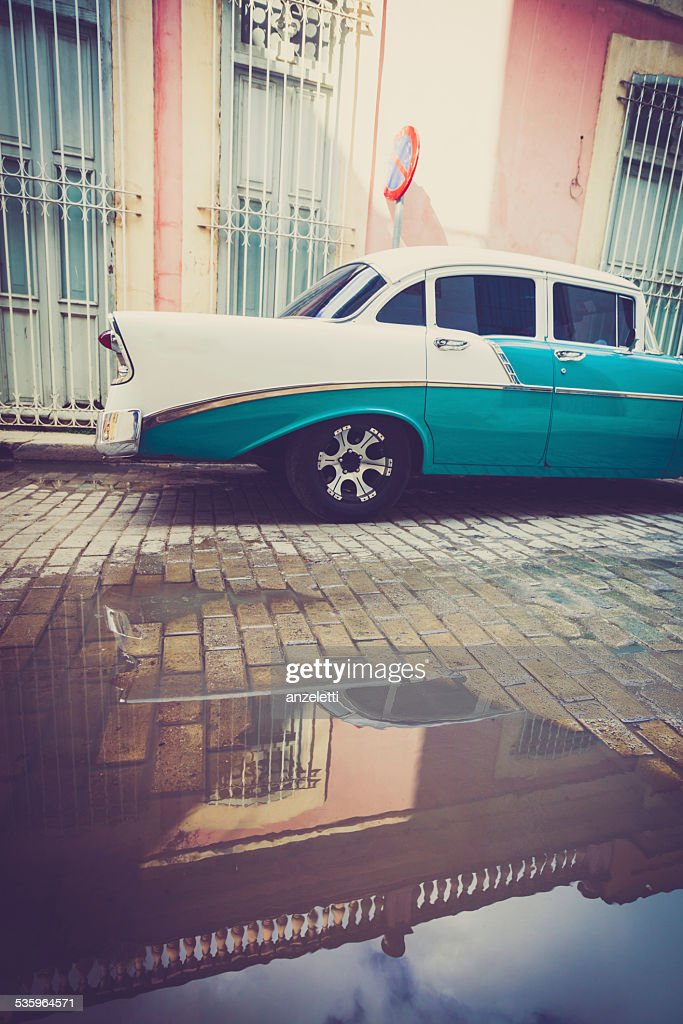 Classic car parked on the street Havana : Stock Photo
