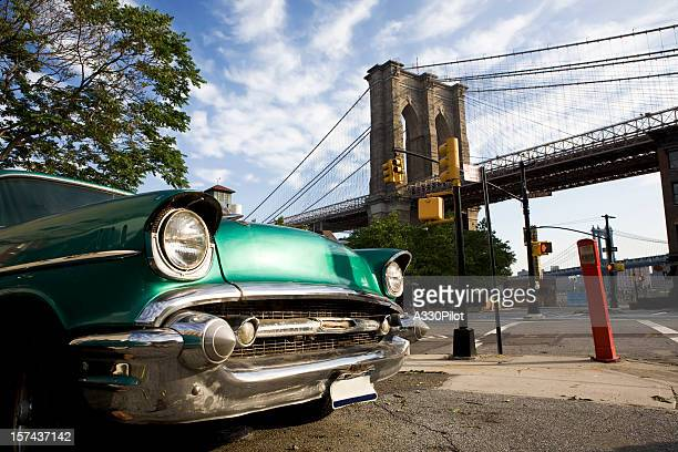 Classic car with view of Brooklyn Bridge