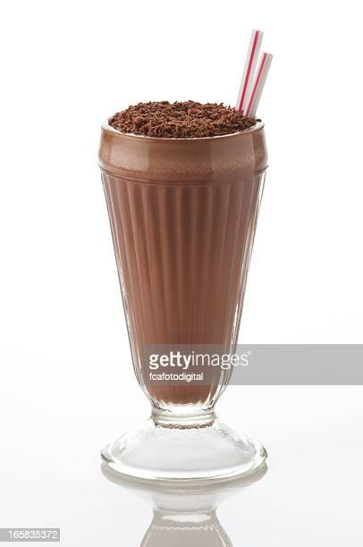 Classic chocolate milshake drink on white backdrop