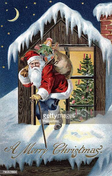 Classic Collection Page 103 A colour illustration of Father Christmas coming out of a dormer window in a snow covered roof