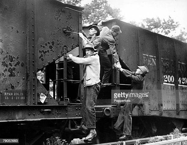 Classic Collection Page 93 Four hobos catching a lift on a moving freight train