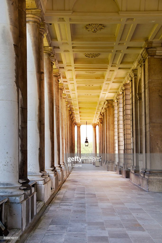 Classic colonnade of navy collage and offices Greenwich. London : Stock Photo