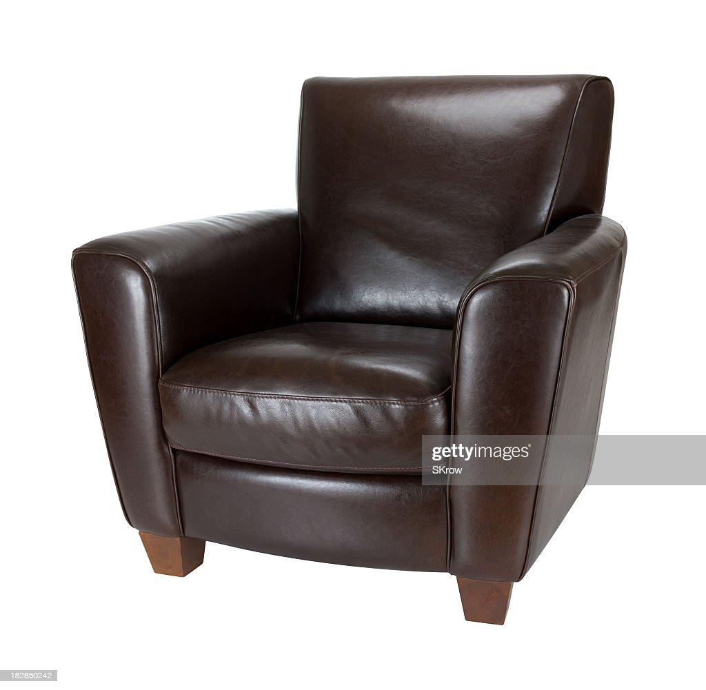 Classic dark brown leather armchair photograph advertisement